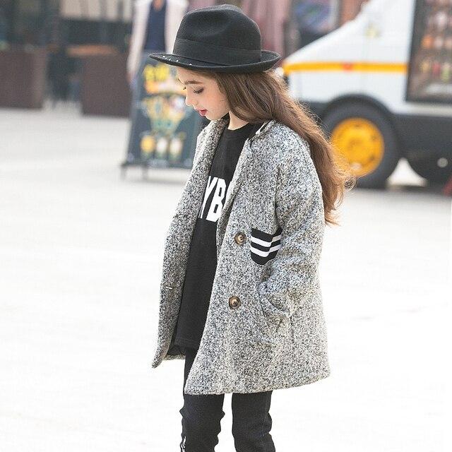 Стильные Мода Дети Одежда Принцесса Двубортный Шерстяной Пальто Траншеи Девушки Шерстяное Пальто Американский 14 15 16 Лет Подростки