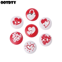 100Pcs Wooden Red White Love heart Wood Slices Buttons Craft Scrapbooking Embellishment DIY Party Home Decoration