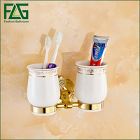 Free Shipping Brass Gold Double Tumbler Holder Cup Tumbler Holders Tumbler Toothbrush Holder Bathroom Accessory