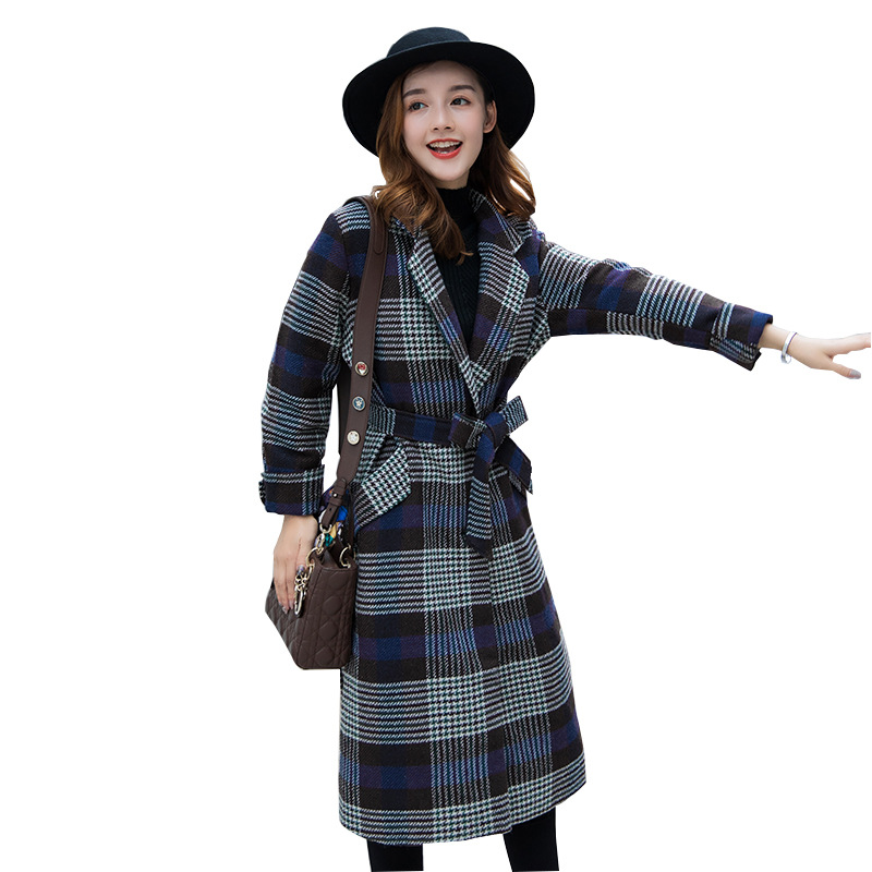 Femmes Plaid À Taille Long Manteau Large Veste Col Manteaux En Mélange Laine Cachemire Lady Office Dames down Gris Turn E5q4w8nA5