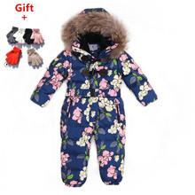 цена на Outdoor Wear Kids Ski Suit Children Down Rompers With Genuine Fur Hood Warm Boys Girls Winter Jumpsuits For -30 Degree 3-8 Years