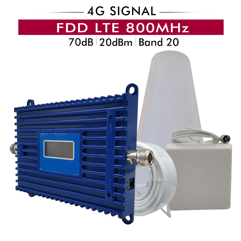 70dB Gain 20dBm (LTE Bande 20) 4G LTE 800 mhz Cellulaire Signal Booster LTE 800 mhz téléphone portable répéteur de Signal Amplificateur évantail complet Kit