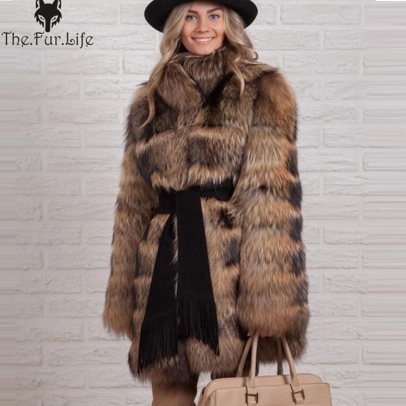 Grande Collare Reale Cappotti di Pelliccia di Procione di Spessore Caldo Inverno Pelliccia Giubbotti Tutta La Pelle Della Pelliccia Naturale