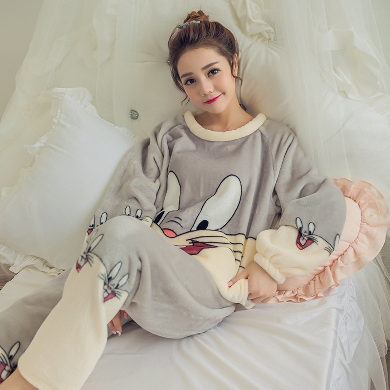 Women\'S Pajamas Autumn And Winter Pajamas Set Women Long Sleeve Sleepwear Flannel Warm Lovely Tops + Pants Sleep Pyjama Female