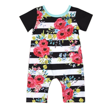 Striped Floral Baby Rompers Infant Baby Girls Short Sleeve Jumpsuit Outfit Toddler Kids Summer Sunsuit