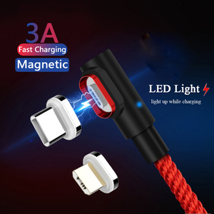 2m Magnetic USB Type C Charging Cable 90 Degree Led Micro Usb Cable Magnet for Samsung S20 Ultra Google Pixel 3A 4 Lenovo Z6 Pro(China)