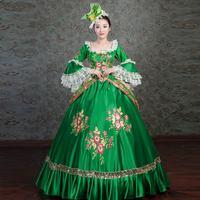 Времен Марии Антуанетты платье принцессы Высококлассные вышивка Зеленый Маскарад платья Maiden Prairie reactation бальное для женщин