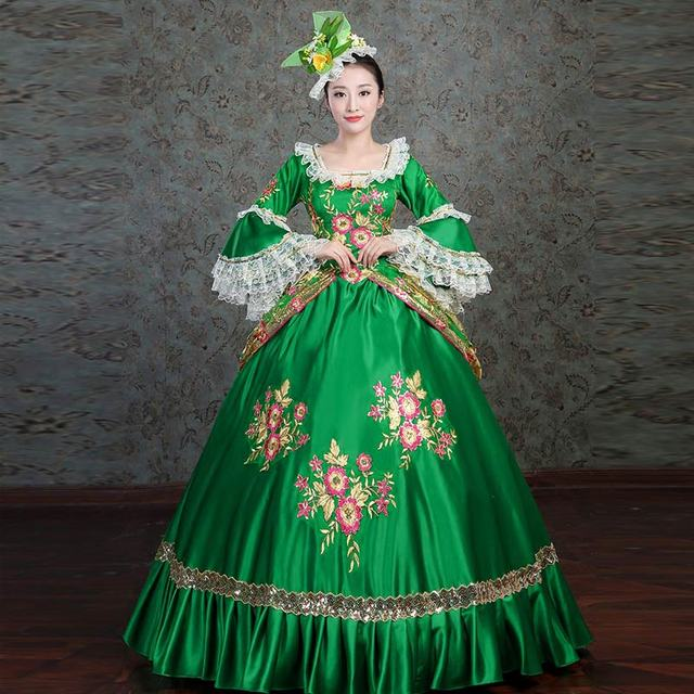 Marie Antoinette Period Dress Princess Upscale Embroidery Green Masquerade Gowns Maiden Prairie Reenactment Ball Gown For Women