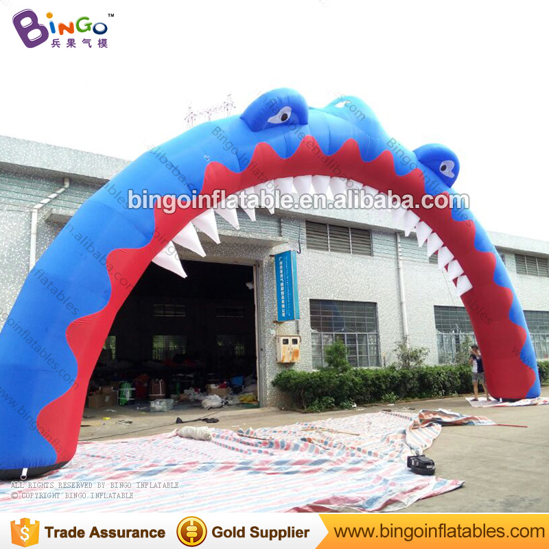 Portable 14m inflatable shark arch for marine theme park decoration hot sale shark archway with air blower for event toy arch