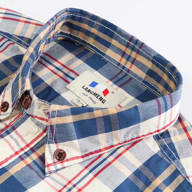 Langmeng 2016 spring autumn mens 100% cotton brand long sleeve plaid casual shirts vintage dress shirt men chemise homme
