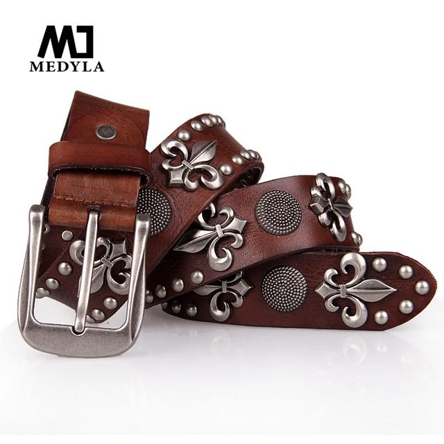 2017 100% top capa de punk remache cinturón cintos masculinos hechos a mano de cuero de vaca genuino correa masculina