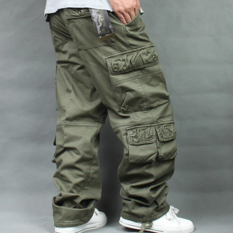 Autumn Winter Fleece Thickened Overalls Hip Hop Men's Long Trousers Men Baggy Casual Pants Warmth Plus Size 40 Mens Bottoms