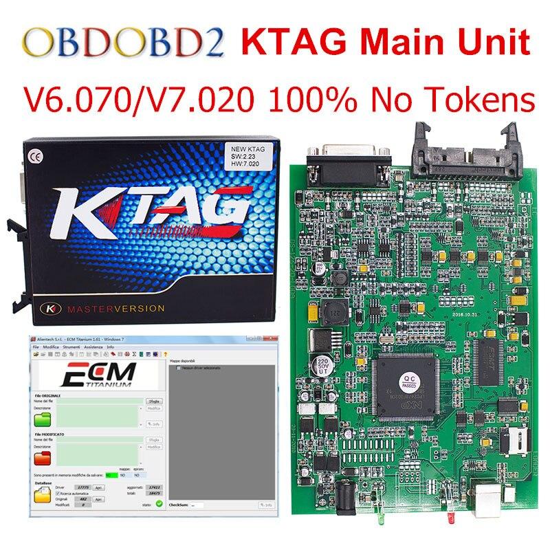 V2.13 Unità principale KTAG K TAG FW V6.070 V7.020 ECU Strumento di programmazione K-TAG 7.020 Versione Maestro No Gettoni Limitata Spedizione nave