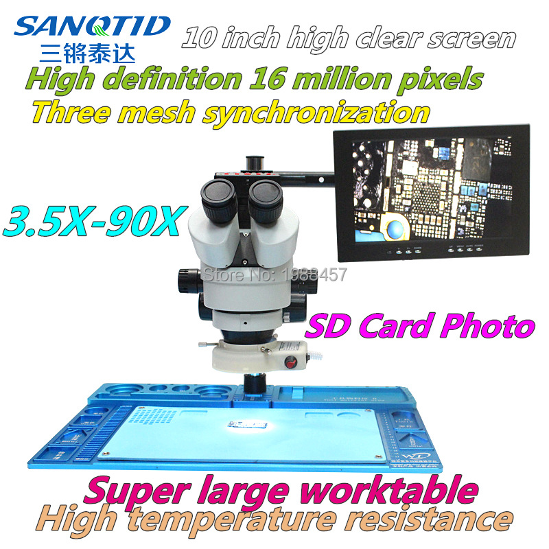 HD <font><b>1600</b></font> million triple <font><b>microscope</b></font> synchronous <font><b>microscope</b></font> HDMI/<font><b>USB</b></font> large worktable with 10 inch display screen for mobile Repai image