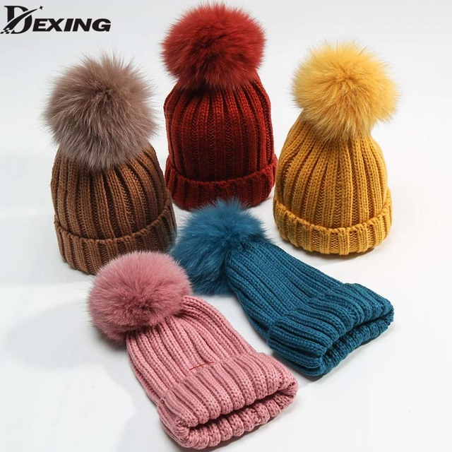 fox Fur Pompom Hat Winter Hat 1-6 years old Skullies Beanies Women Warm Cap eb71d0718cc