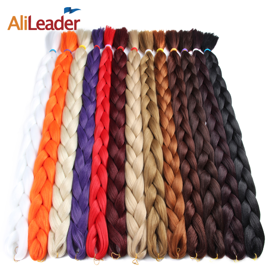AliLeader Kanekalon Jumbo Braid Hair 82 cale 165G Crotchet Plecionki Pure Color Synthetic Braiding Hair Black Blond Pink Purple