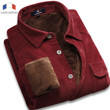 Langmeng 2016 marke warme 100% baumwolle cord männer casual langarm shirts samt winter herren flanell kleid shirt chemise homme
