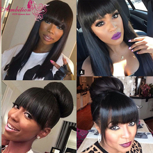 straight hair with bang 180% Density Human Hair Lace Front Wig straight virgin remy Human Hair lace front wigs for black women