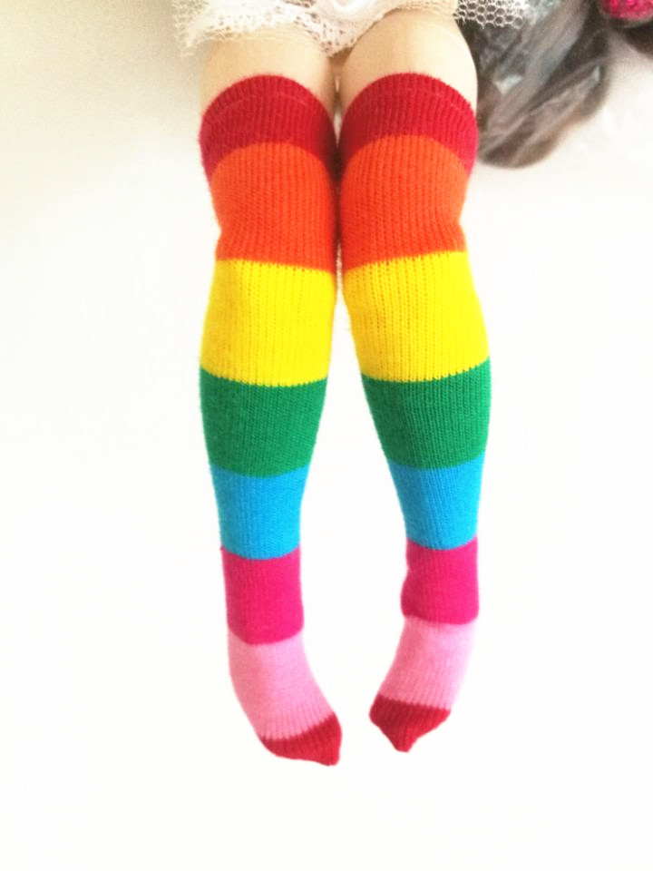 1 Pair Cute Rainbow Color Blyth Doll Socks Stocking 1/6 Doll's Clothes Accessories
