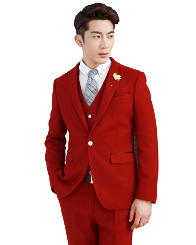 Fashion Newest Groom Suits Tuxedo Young Man Red Wedding One Ons Handsome Men S Three Piece Suit Jacket Pants Vest In From Clothing