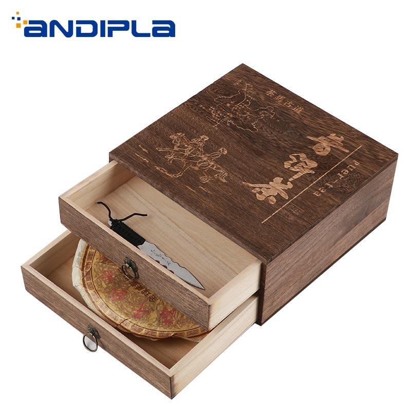 Vintage Wood Storage Tea Box Puer Tea Cake Separator Boxes Drawer Small Locker Container Teaware Accessories Puer Caddies Decor|Tea Caddies| |  - title=