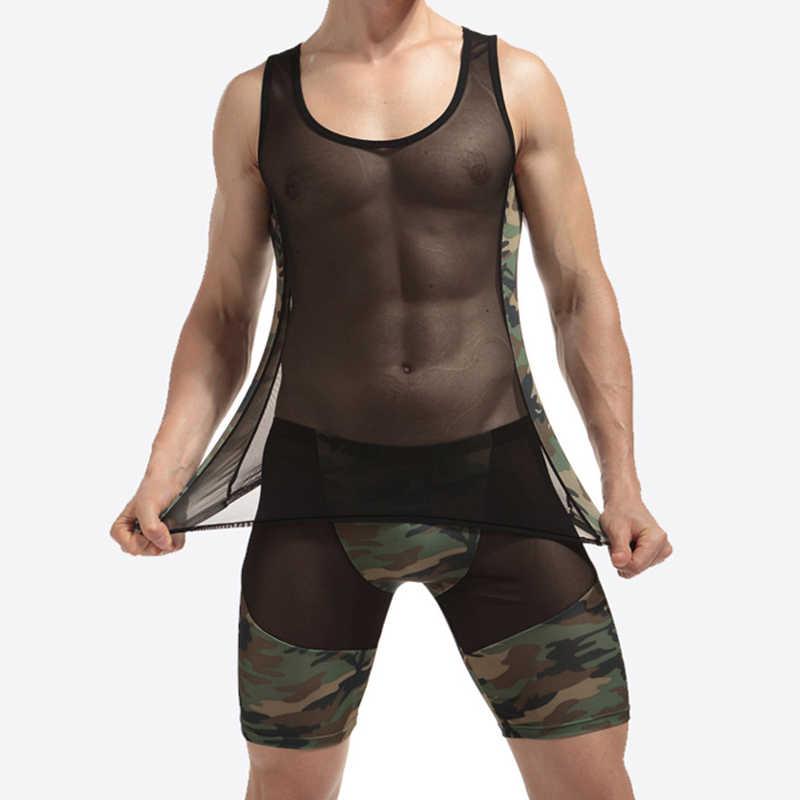 새로운 섹시한 남자의 그물망 카모 복서 반바지 남자 속옷 세트 탱크 탑 란제리 잠옷 세트 에로틱 체육관 휘트니스 tracksuit