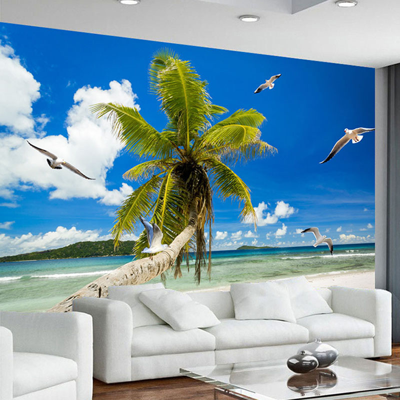 Blue Sky And White Clouds Sandy Beach Coconut Trees Seagull Seaview Custom 3D Photo Wallpaper For Living Room Bedroom Wall Mural