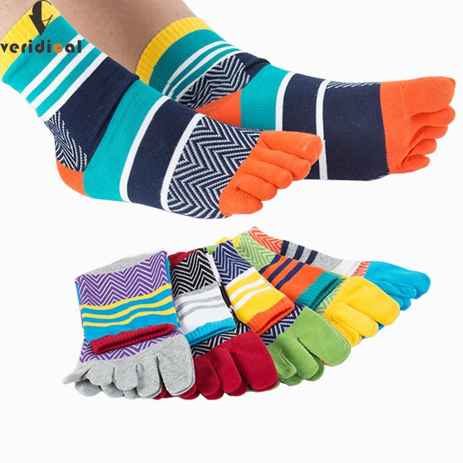5 pairs/lot Mens Summer Cotton Toe Socks Striped Contrast Colorful Patchwork Men Five Finger Socks Free Size Basket Calcetines
