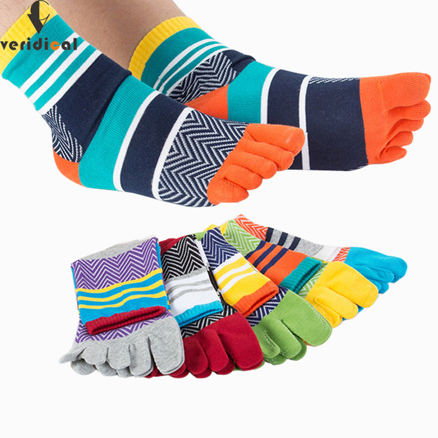 5 pairs/lot Mens Summer Cotton Toe   Socks   Striped Contrast Colorful Patchwork Men Five Finger   Socks   Free Size Basket Calcetines