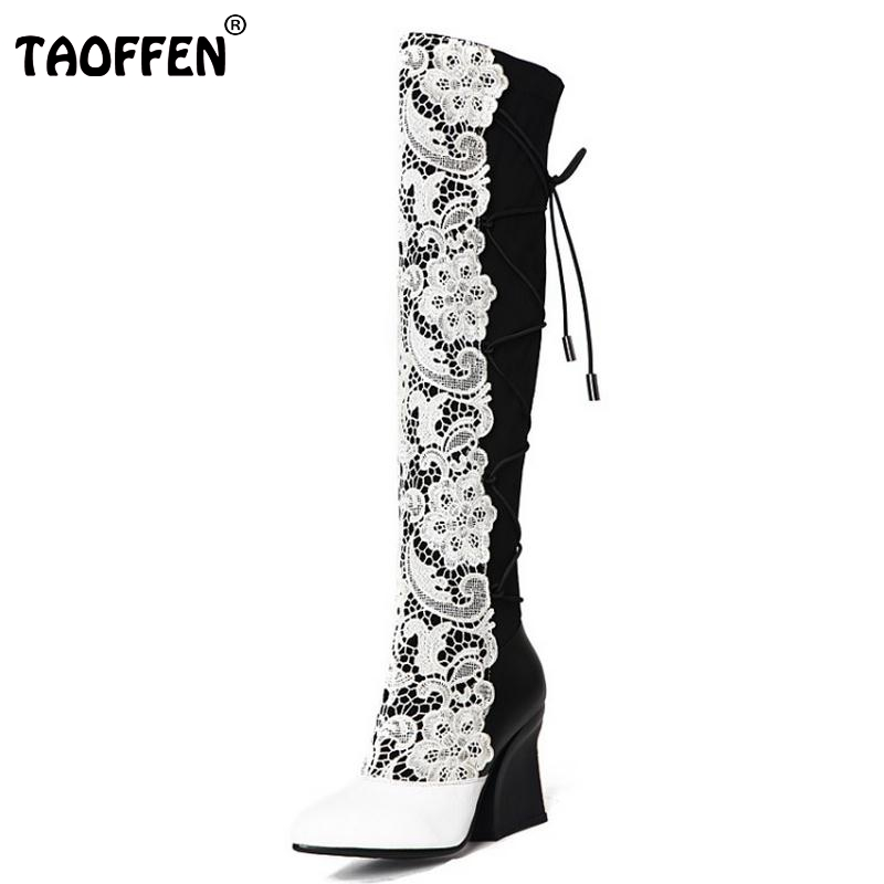 TAOFFEN Women Boots Genuine Leather Over Knee Boots Ladies High Heel Pointed Toe Botas Zipper Heeled Women Shoes Size 33-40 mabaiwan autumn ladies ankle boots genuine leather iron strange heel bota feminina front zipper botas high heels women pumps