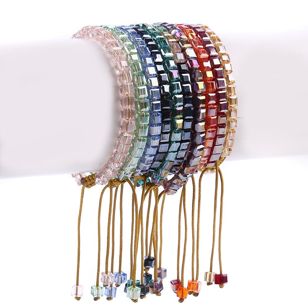 Handmade Classic Beaded Bohemia OL Bracelet Bling Crystal Bead Friendship Bracelet Coloful Cristal Adjustable Bracelet 1512