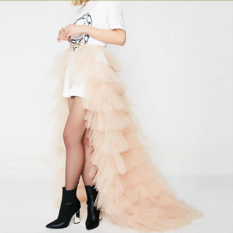 Trendy Champagne Ruffles Tulle Wrap Skirts Sash Bow Tiered Long Tulle Skirt Women Bridal Train Over