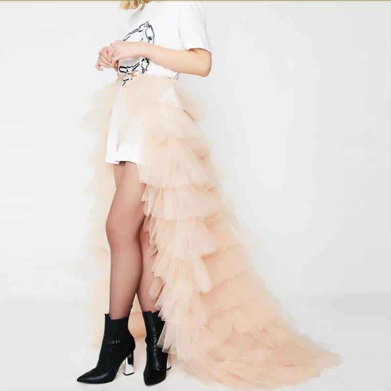 트렌디 한 샴페인 프릴 tulle wrap skirts 새시 보우 tiered long tulle skirt 여성 bridal train over skirt faldas mujer moda-에서스커트부터 여성 의류 의  그룹 1