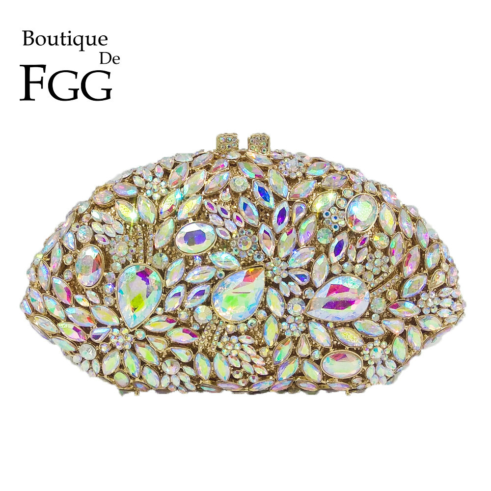 Boutique De FGG Exquisite Hollow Out Crystal Women Evening Purse Metal Clutches Bag Bridal Wedding Clutch Cocktail Party Handbag