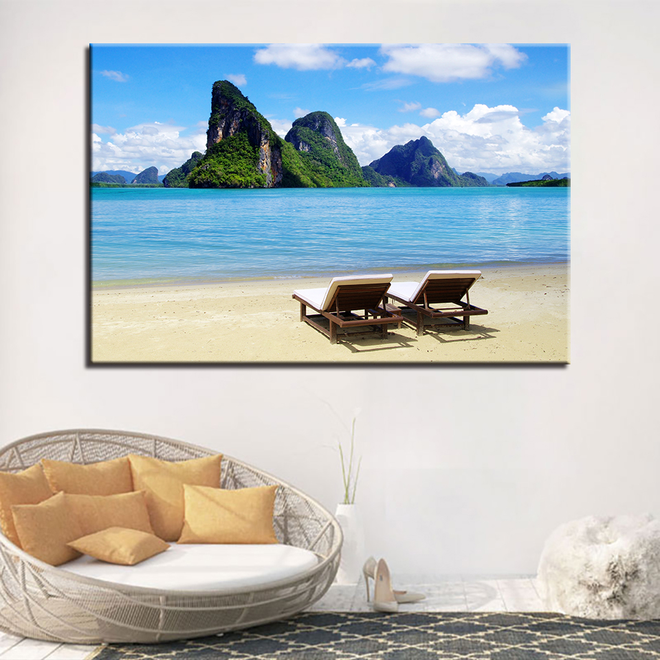 Canvas Pictures Home Decor Wall Art 1 Piece/Pcs Beach Scenery Paintings Living Room HD Prints Tropical Island Posters Framework