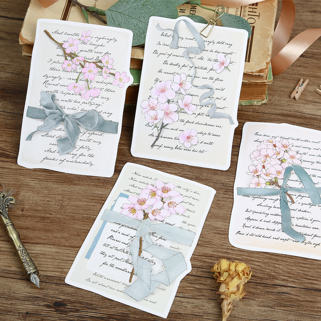 30pcs Cherry Blossom letter design card as Scrapbooking party
