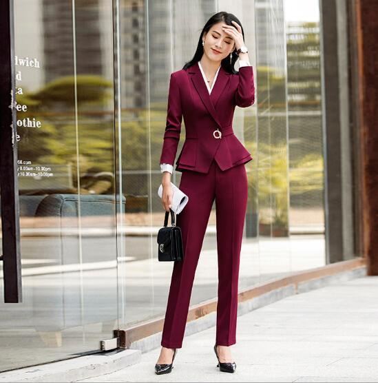 Nouveau mode Rouge Pantalon costumes femmes automne hiver affaires Interview mince à manches longues blazer et pantalon dames de bureau work wear