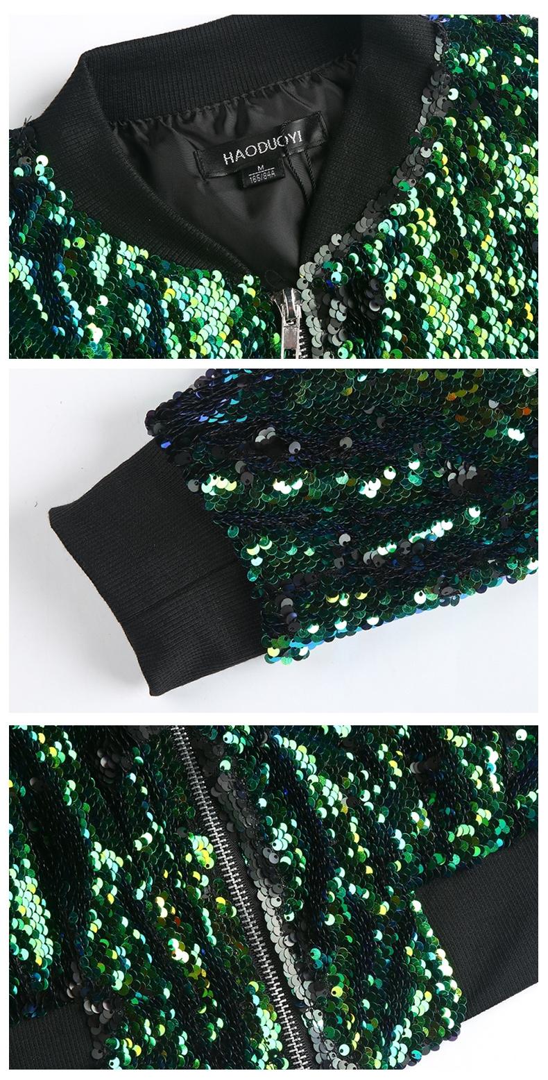 HYH HAOYIHUI Jesień Kobiety Cekiny Płaszcz Zielony Bomber Jacket Kurtka Z Długim Rękawem Zipper Streetwear Preppy Luźne Dorywczo Podstawowe Płaszcz 11