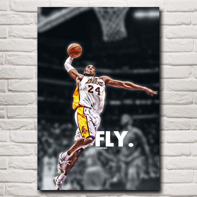 No. 24 Basketball Star Kobe Bryant Art Silk Poster 12x18