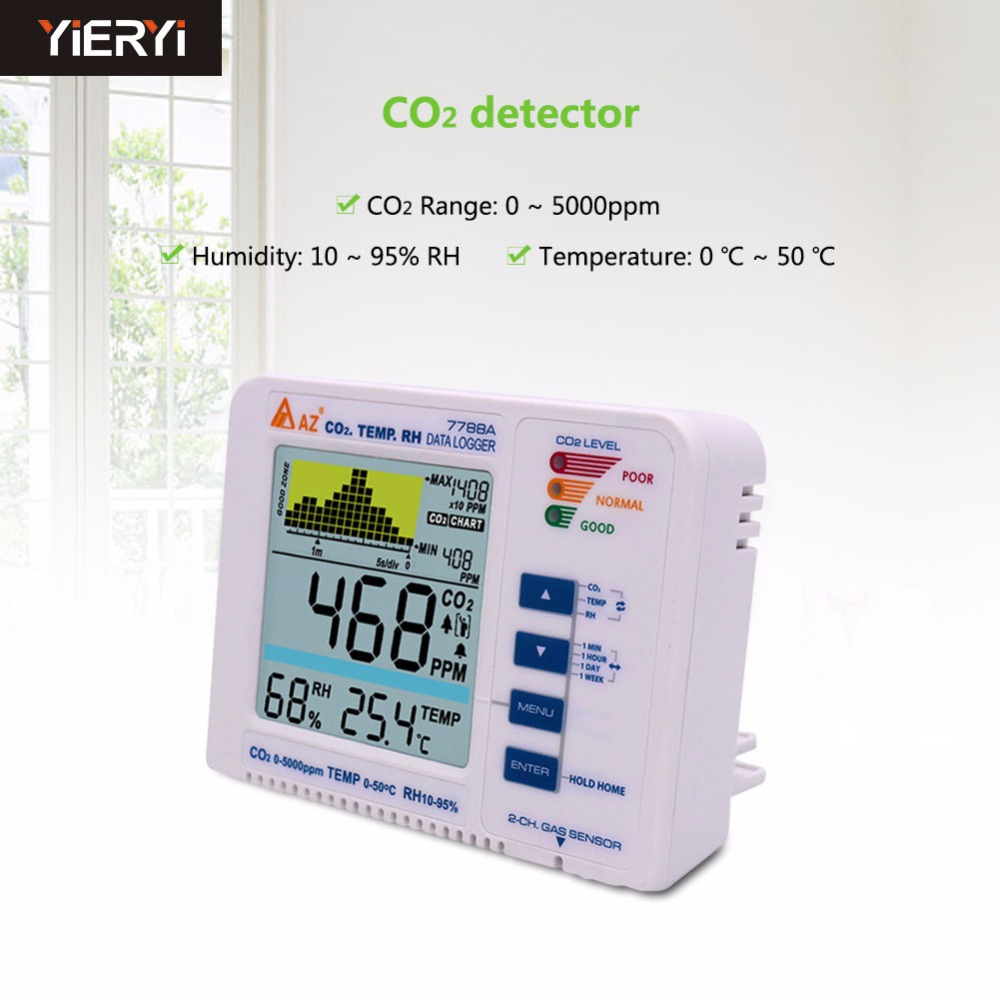 yieryi 3 in 1 Desktop Carbon Dioxide Datalogger Range 5000ppm Indoor Air Quality Temperature RH AZ7788A CO2 Gas Detector Meter mini desktop carbon dioxide datalogger indoor air quality temperature rh co2 gas detector meter date time and sound light alarm