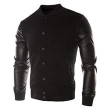 2017 NEW Sweater PU font b Leather b font Collar Sweater Personalized Baseball Stitching Clothes Man