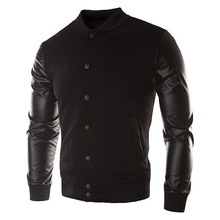 2017 NEW Sweater PU Leather Collar Sweater Personalized Baseball Stitching Clothes Man