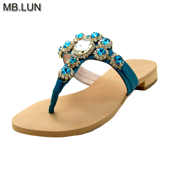 f08bb8b80feea Ladies Women Sandals Summer Flat Flip Flops Rhinestone Sandals Women 2017  Genuine Leather Jewelry Shoes Woman handmade MB.LUN