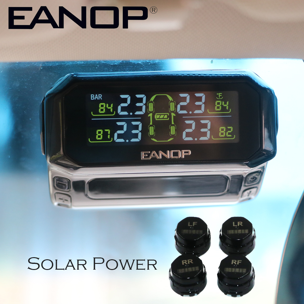EANOP S600 Solar Powered TPMS Tire Pressure Monitor ble Tpms Systems Car Tires Pressure Monitor Sensor Car Diagnostic BAR PSI