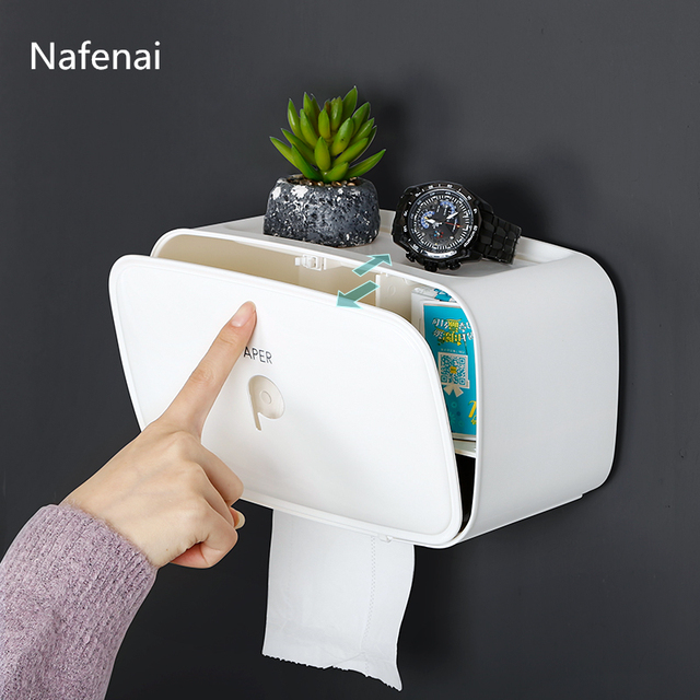 Waterproof Toilet Paper Holder Tissue Holder Roll Paper Holder Box Cube Storage Box Wall Mounted Plastic