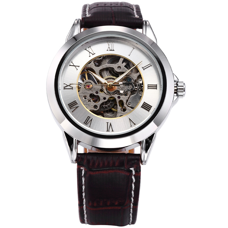 цена на SHENHUA Mechanical Skeleton Black Golden Case Male Clock Watch Men Montre Homme Relogio Masculino