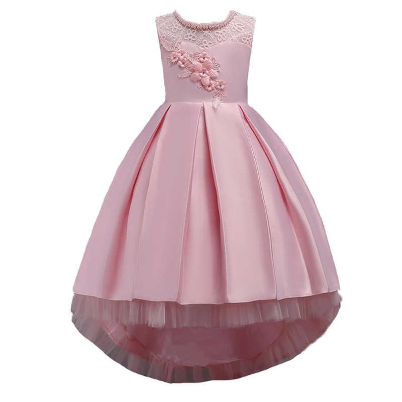 b5ee57741bf Принцессы для девочек вечерние платья для подростков девочек Вышивка лук  рукавов высокого класса перетащите пол платье