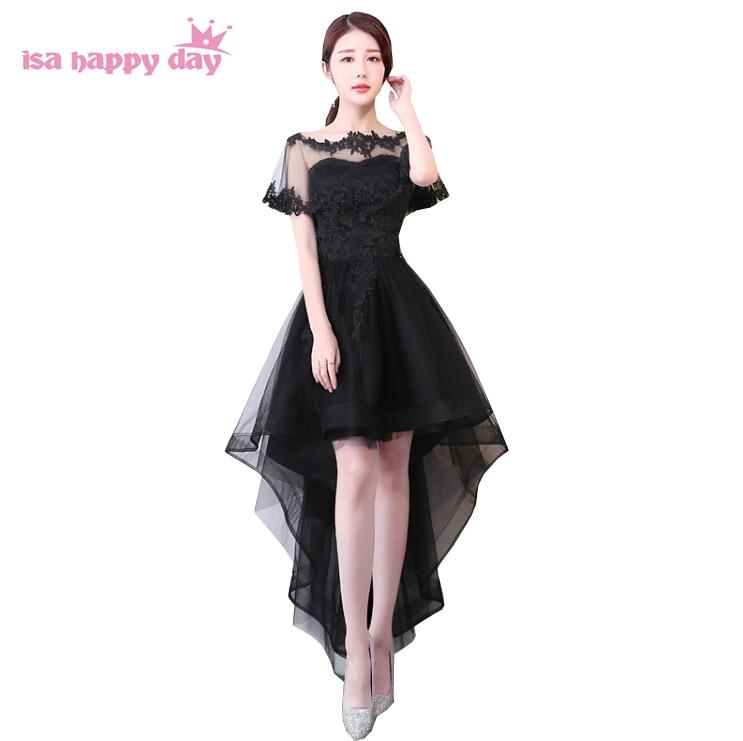 Gowns For Women: Black Ivory Short Front Long Back High Low Hem Evening