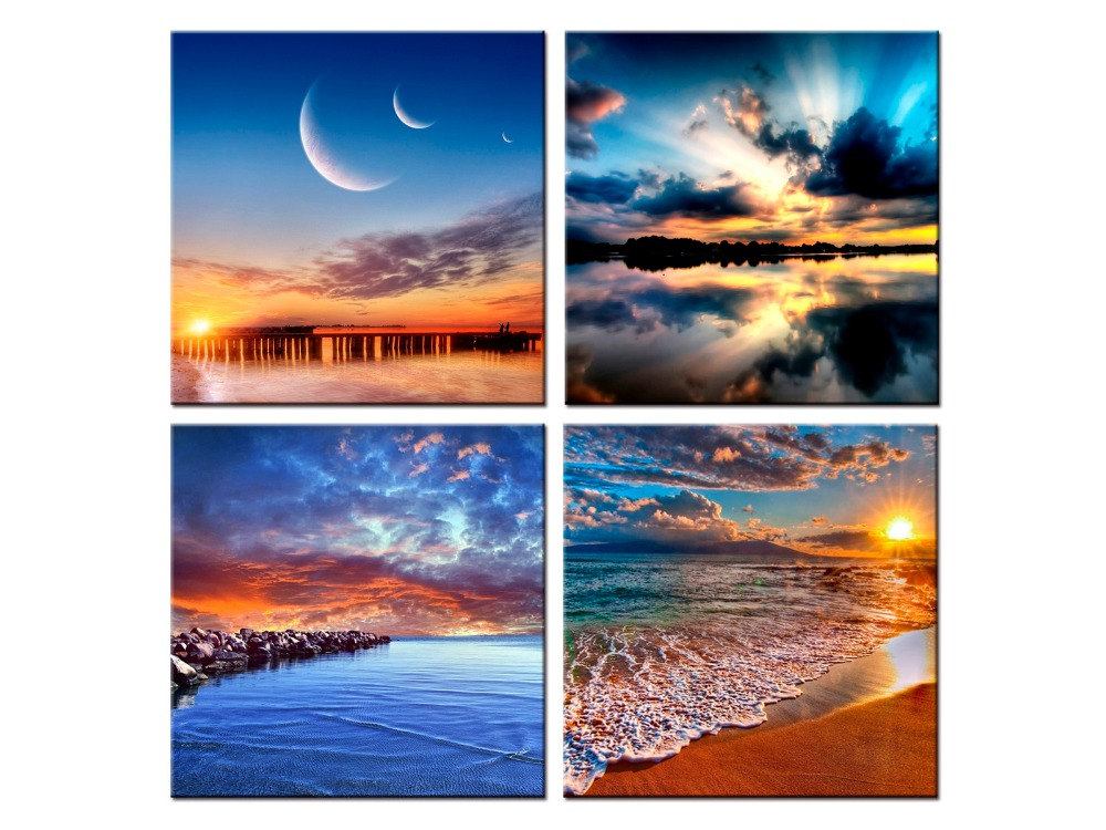 4 panel Modern Prints Beach Seascape Painting Sea Sunset Painting Wall Picture For Living Room