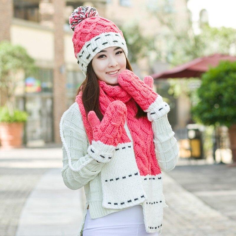 ФОТО Birthday christmas gift winter women's plus velvet thickening knitted hat scarf gloves set piece set